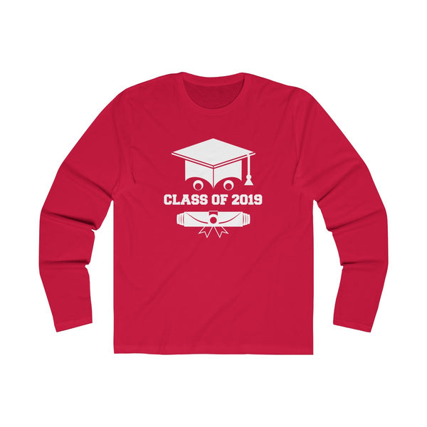 Class of 2019 Smiling Grad Hat and Scroll  Men's Slim Fit Long Sleeves T-Shirt Pink