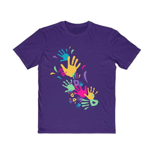 Colorful Hand Impressions Mens Semi Slim Fit T-Shirt Purple