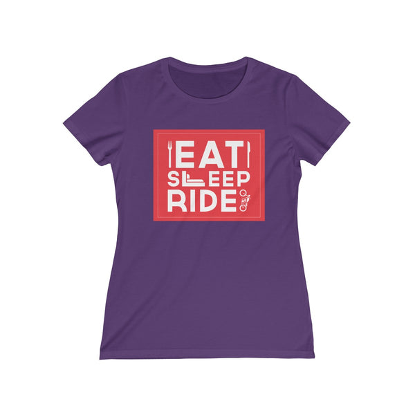 Eat Sleep Ride Womens Feminine Fit T-Shirt Purple
