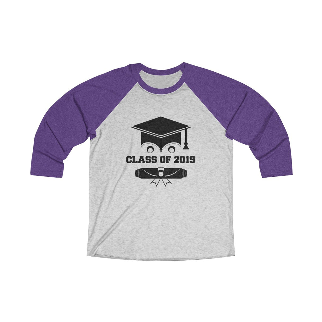 Class of 2019 Smiling Grad Hat and Scroll Unisex Raglan T-Shirt