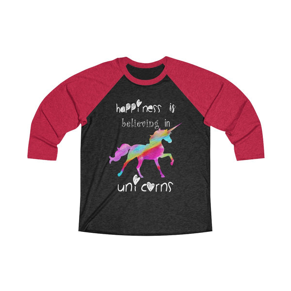 Colored Unicorn Happiness Unisex Loose Fit Raglan T-Shirt