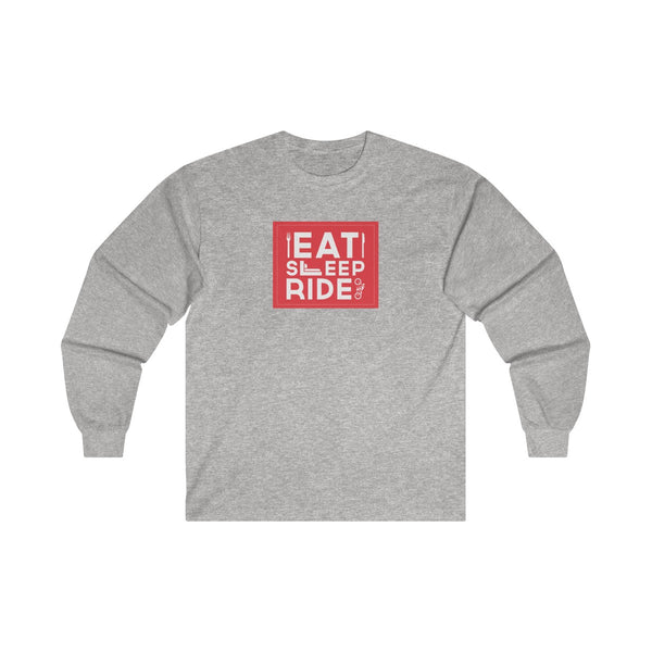 Eat Sleep Ride Mens Classic Fit Long Sleeves T-Shirt Gray