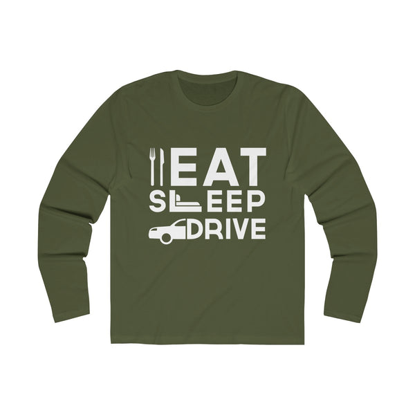 Eat Sleep Drive Mens Slim Fit Long Sleeves T-Shirt Green