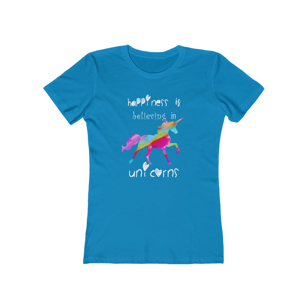Colored Unicorn Happiness Womens Slim Fit Longer Length T-Shirt
