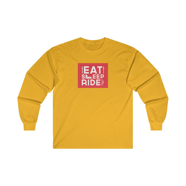 Eat Sleep Ride Mens Classic Fit Long Sleeves T-Shirt Yellow