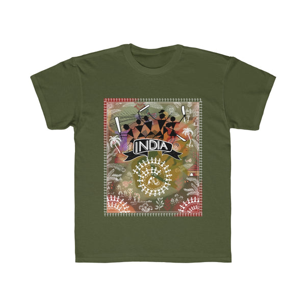 India Cricket Tribal Art Kids Regular Fit T-Shirt Green