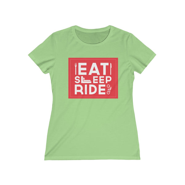 Eat Sleep Ride Womens Feminine Fit T-Shirt Green