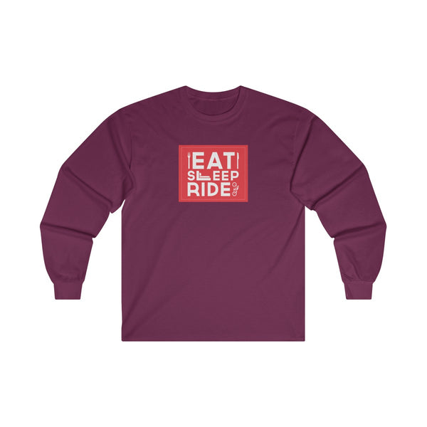 Eat Sleep Ride Mens Classic Fit Long Sleeves T-Shirt Red
