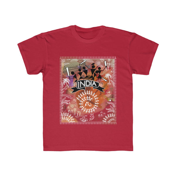 India Cricket Tribal Art Kids Regular Fit T-Shirt Red