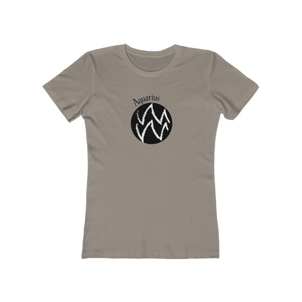 Aquarius Zodiac Womens Slim Fit Longer Length T-Shirt (Light Colored) Gray