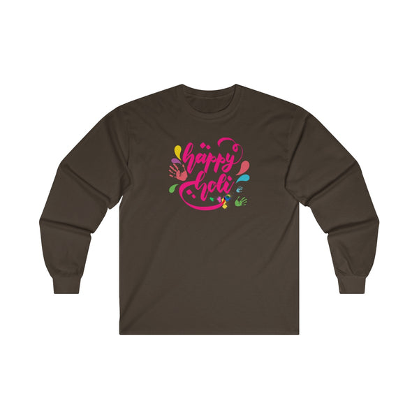 Happy Holi Mens Classic Fit Long Sleeves T-Shirt Brown