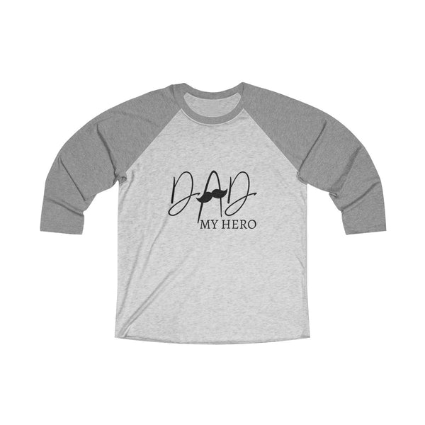 Dad My Hero With Moustache Mens Raglan T-Shirt Gray
