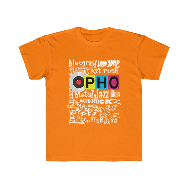 opho Music Genre Kids Regular Fit T-Shirt Yellow