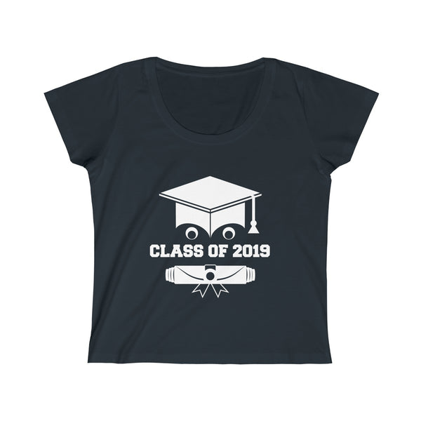 Class of 2019 Smiling Grad Hat and Scroll  Womens Slim Fit Scoop Neck T-Shirt Black