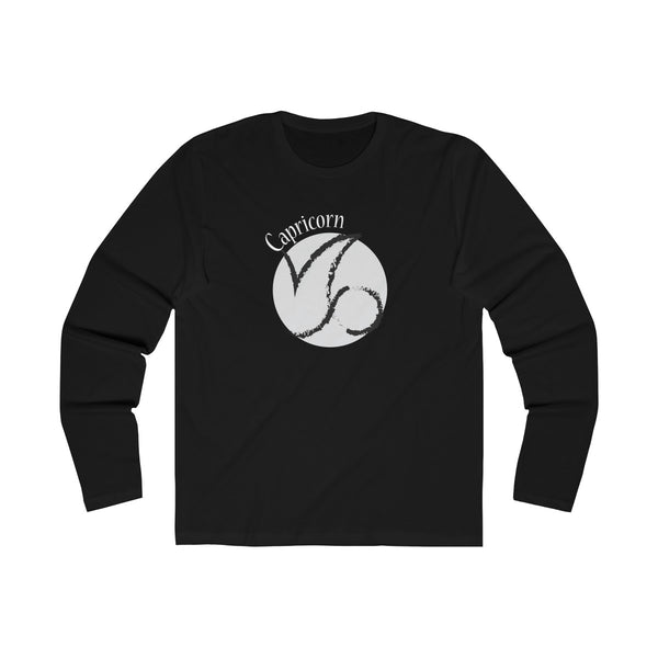 Capricorn Zodiac Mens Slim Fit Long Sleeves T-Shirt Black