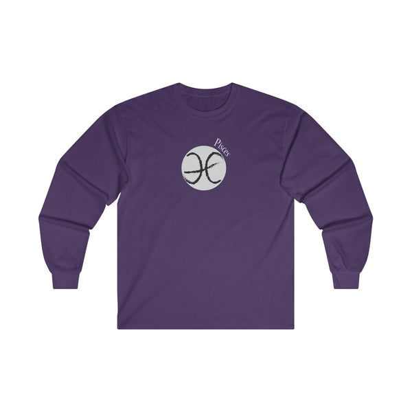 Pisces Zodiac Mens Classic Fit Long Sleeves T-Shirt Purple