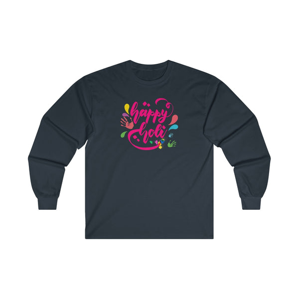 Happy Holi Mens Classic Fit Long Sleeves T-Shirt Navy
