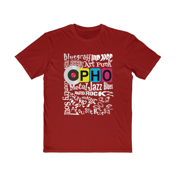 opho Music Genre Mens Semi Slim Fit T-Shirt Red