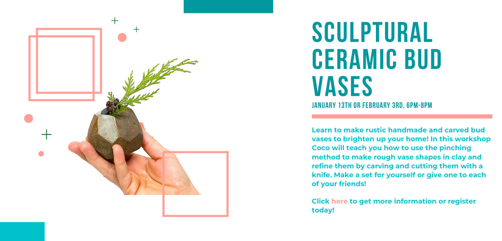 Small sculptural bud vase virtual ceramics workshop by Coco Spadoni