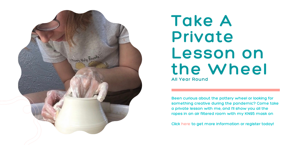 Seattle Ceramic Private Lesson. Person on the pottery wheel throwing white clay