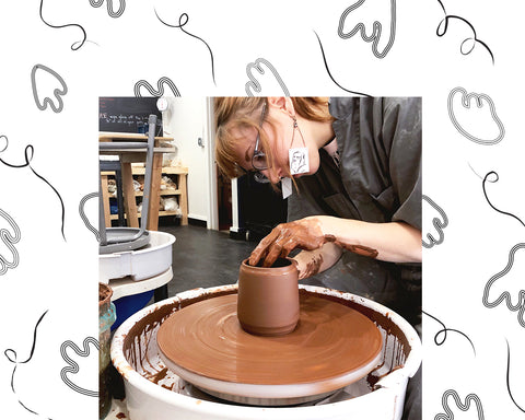 Coco Spadoni throwing clay on the pottery wheel with illustrations of abstract shapes on the border