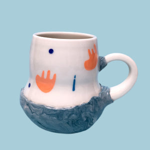 Sad flop and light a candle blue mug