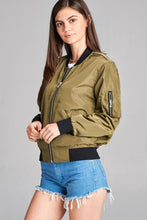 Load image into Gallery viewer, Ladies fashion plus size light weight bomber jacket w/back rib contrast