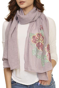 Ladies fashion sequined flower pattern scarf - comfy-cozy18