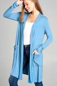 Ladies fashion long sleeve open front w/pocket long length rayon spandex cardigan - comfy-cozy18