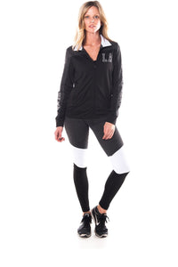 Ladies fashion active sport yoga / zumba 2 pc set zip up jacket & leggings outfit - comfy-cozy18