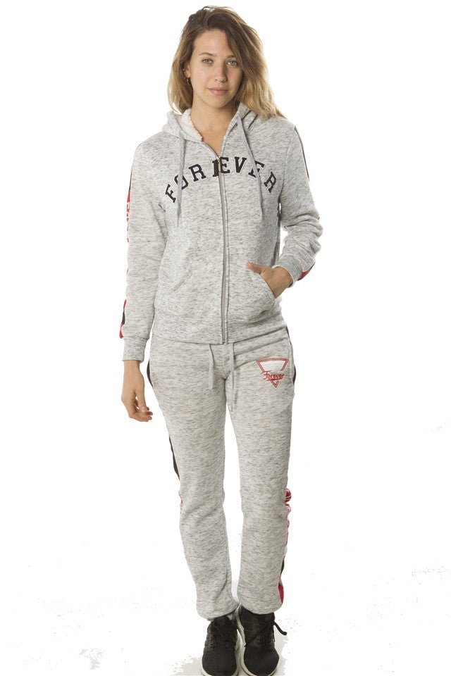 Gray 2 pc fleece sets w/ 2 front pockets, fur line hood & applique - comfy-cozy18