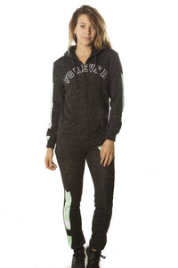 Black 2 pc fleece  w/ 2 front pockets, fur line hood & applique - comfy-cozy18