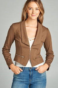 Ladies fashion long sleeve zip front blazer - comfy-cozy18