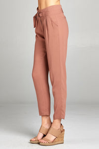 Ladies fashion high rise w/double metal trim belt long leg woven trousers - comfy-cozy18
