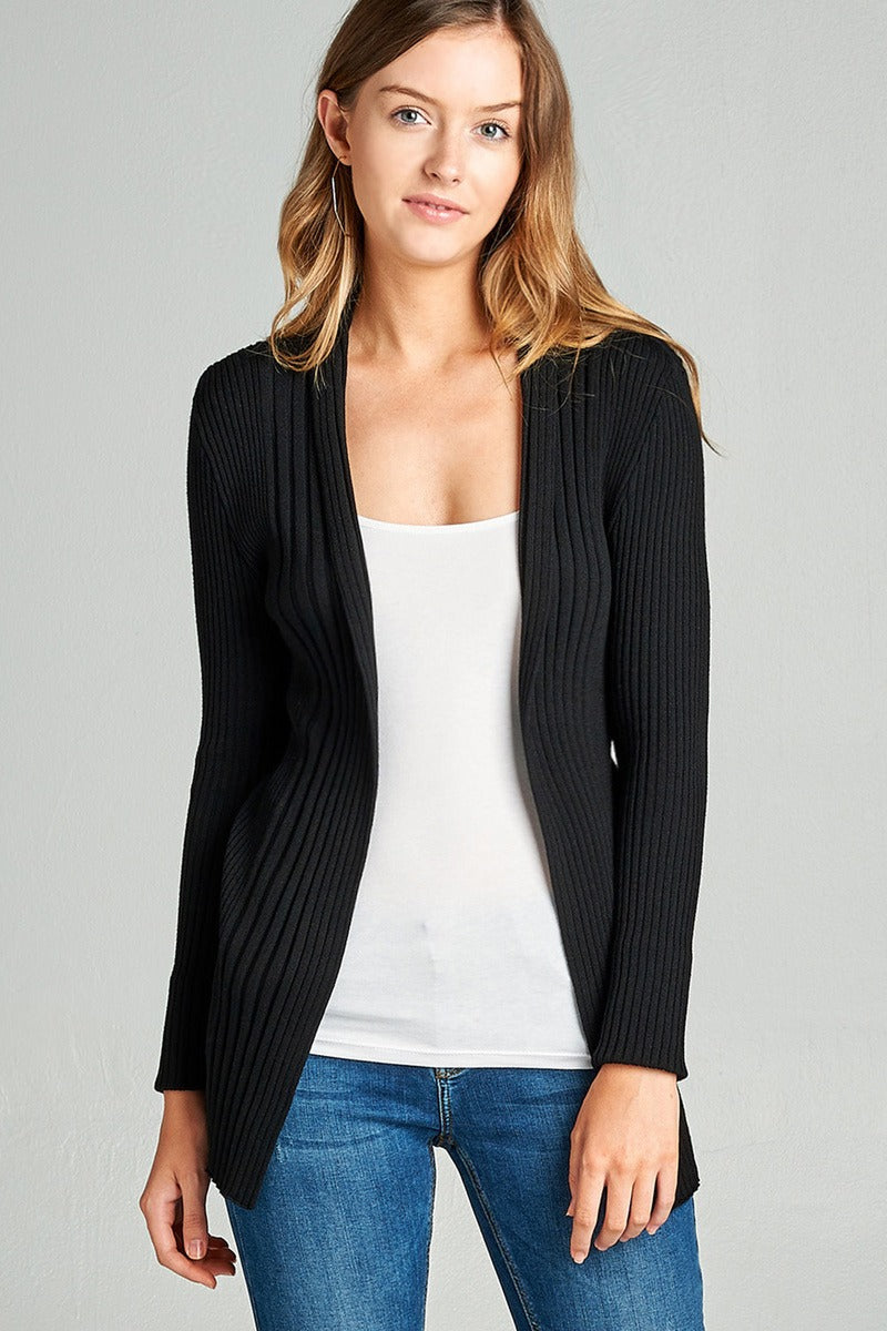 Ladies fashion long sleeve open front ribbed knit cardigan - comfy-cozy18