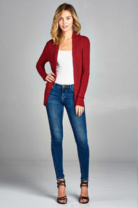 Red long sleeve open front ribbed knit cardigan - comfy-cozy18