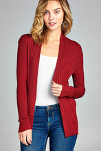 Load image into Gallery viewer, Red long sleeve open front ribbed knit cardigan - comfy-cozy18