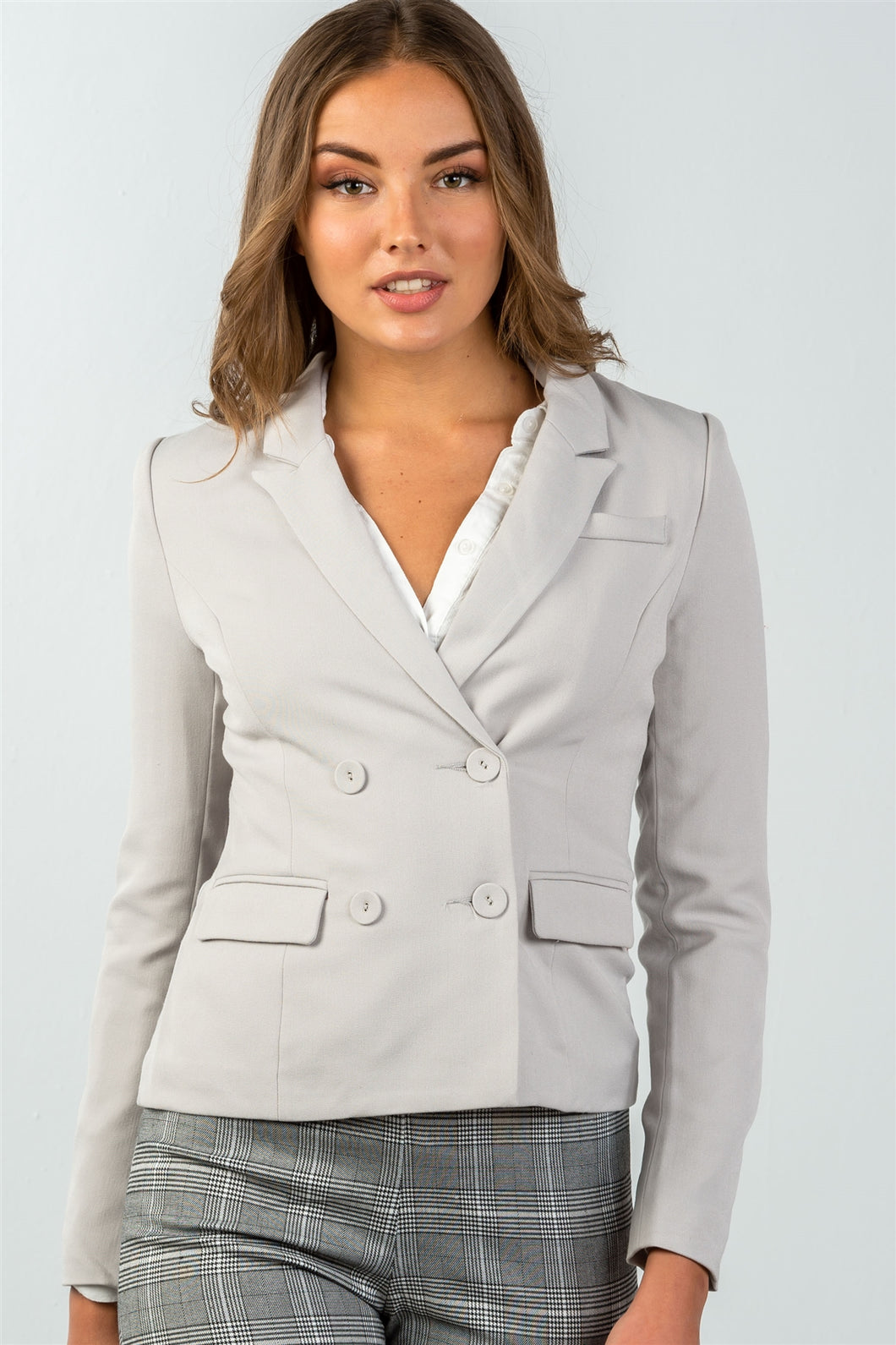 Ladies fashion grey double button down classic solid blazer - comfy-cozy18