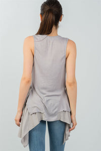 Ladies fashion front button down closure solid color sleeveless asymmetric hem vest - comfy-cozy18