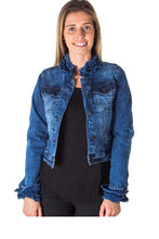 Load image into Gallery viewer, Ladies fashion cropped ruffled denim jacket - comfy-cozy18
