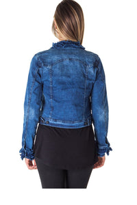 Ladies fashion cropped ruffled denim jacket - comfy-cozy18