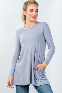 Ladies fashion round neckline long sleeve back keyhole tunic top - comfy-cozy18