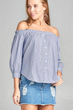 Load image into Gallery viewer, Ladies fashion sleeve tie off the shoulder stripe cotton top - comfy-cozy18