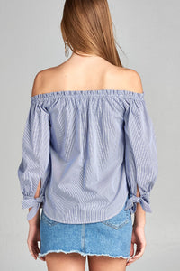 Ladies fashion sleeve tie off the shoulder stripe cotton top - comfy-cozy18