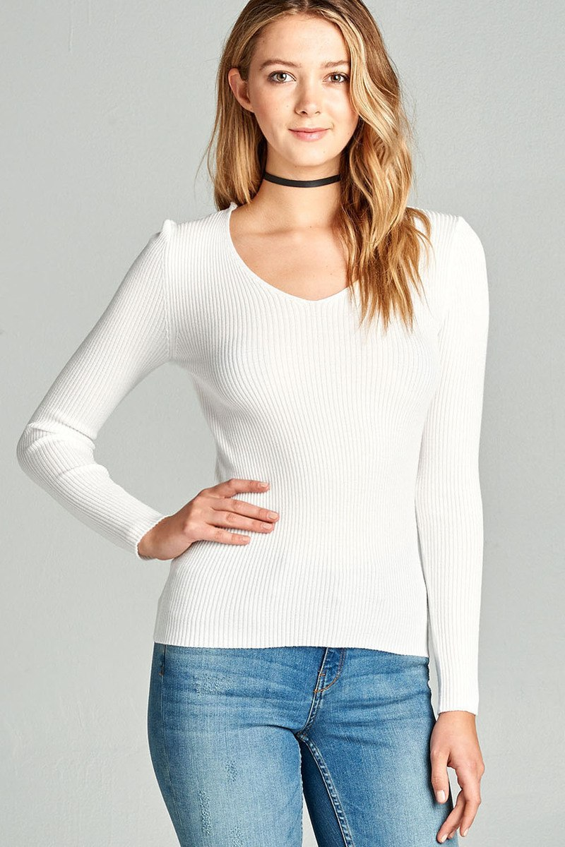 Ladies fashion long sleeve v-neck fitted rib sweater top - comfy-cozy18