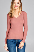 Load image into Gallery viewer, Ladies fashion long sleeve v-neck fitted rib sweater top - comfy-cozy18