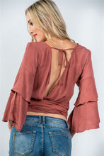 Load image into Gallery viewer, Ladies fashion rust  v neckline wrap tie tiered bell sleeves blouse - comfy-cozy18