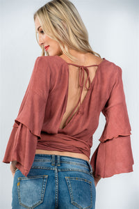 Ladies fashion rust  v neckline wrap tie tiered bell sleeves blouse - comfy-cozy18