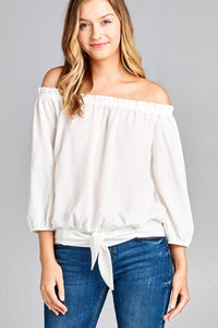 Ladies fashion 3/4 sleeve off the shoulder waist band w/front self tie back smocked detail crepe woven top - comfy-cozy18