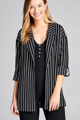 Ladies fashion 3/4 roll up sleeve open front stripe woven jacket - comfy-cozy18